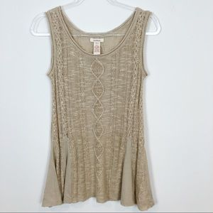 SUNDANCE TAUPE CABLE KNIT SLEEVELESS SWEATER TANK